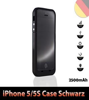 iPhone 5 5S Batterie Power Akku Case 2500mAh Farbe Schwarz