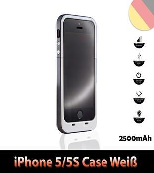 iPhone 5 5S Batterie Power Akku Case 2500mAh Farbe Weiß
