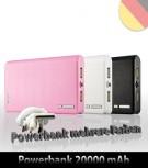 Powerbank 20000 mAh Universall für Handys, Navigation, iPod, Tablet