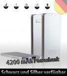 Powerbank ultra slim Akku Silber für iPhone, Galaxy und mehr