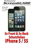 4x Front & 4x Back Screenguard schutzfolie iPhone 5 / 5S